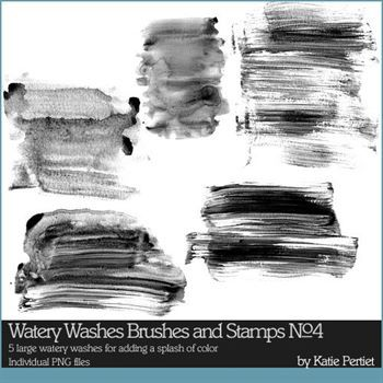 Watery Washes No. 04 Brushes And Stamps Digital Art - Digital Scrapbooking Kits