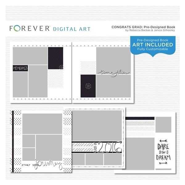 Congrats Grad Pre-designed Book Digital Art - Digital Scrapbooking Kits