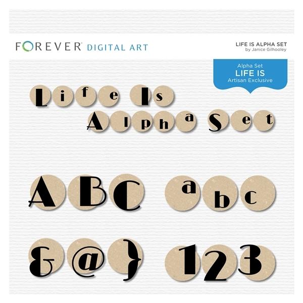 Life Is Alpha Set Digital Art - Digital Scrapbooking Kits