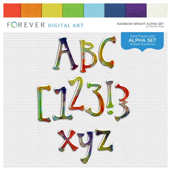 Rainbow Bright Alpha Set Digital Art - Digital Scrapbooking Kits