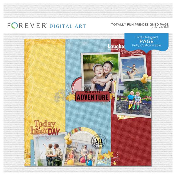Totally Fun Pre-designed Page Digital Art - Digital Scrapbooking Kits