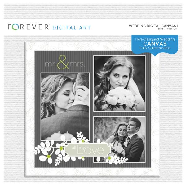 Wedding Digital Canvas 1 Digital Art - Digital Scrapbooking Kits