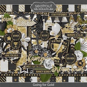 Going For Gold Digital Art - Digital Scrapbooking Kits