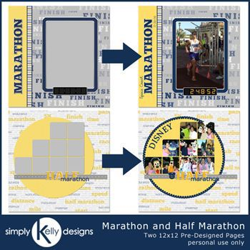 Marathon And Half Marathon 12x12 Pre-designed Pages