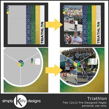 Triathlon 12x12 Pre-designed Pages