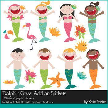 Dolphin Cove Add-on Stickers Digital Art - Digital Scrapbooking Kits
