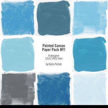 Painted Canvas Paper Pack No. 01 Digital Art - Digital Scrapbooking Kits