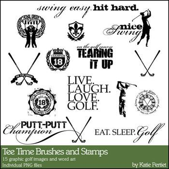Tee Time Brushes And Stamps Digital Art - Digital Scrapbooking Kits