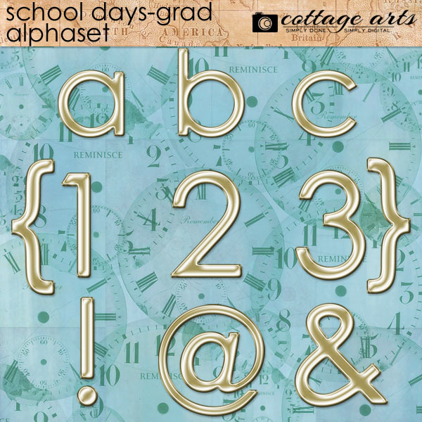 School Days - Grad Alphaset Digital Art - Digital Scrapbooking Kits