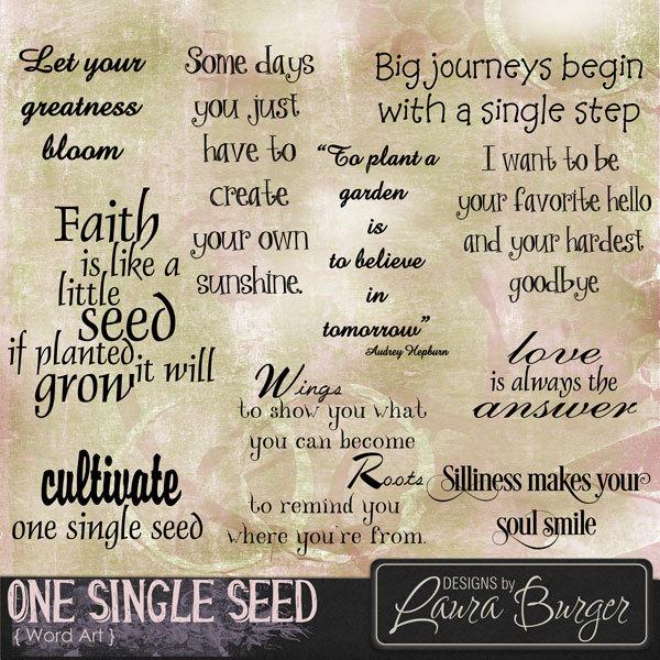 One Single Seed Word Art