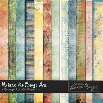 Where The Boys Are Grunge Paper Digital Art - Digital Scrapbooking Kits