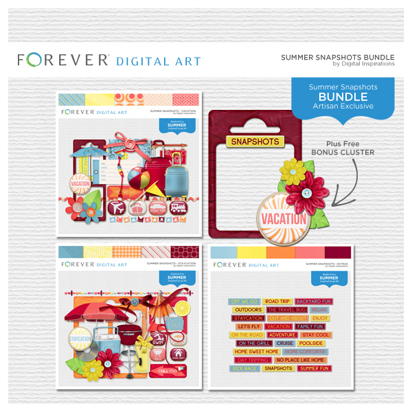 Summer Snapshots Bundle Digital Art - Digital Scrapbooking Kits