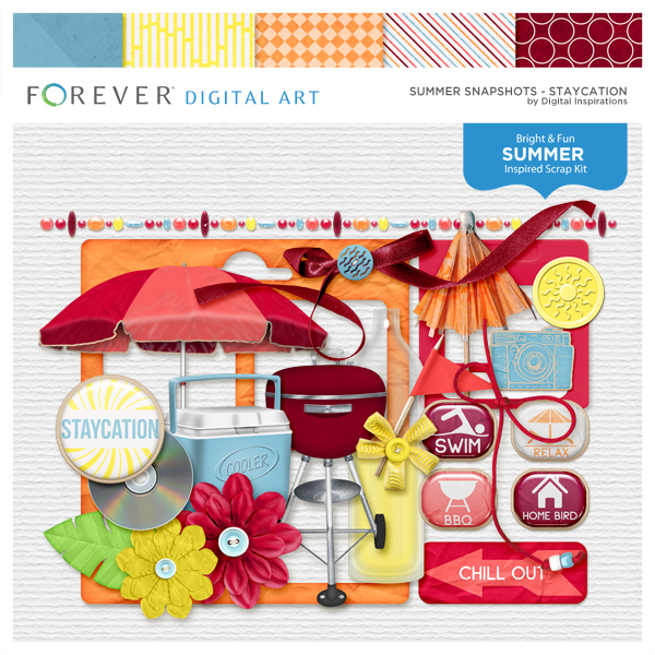 Summer Snapshots Staycation Digital Art - Digital Scrapbooking Kits