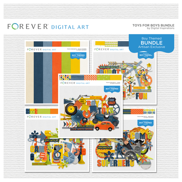 Toys For Boys Bundle Digital Art - Digital Scrapbooking Kits
