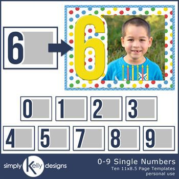 0 - 9 Single Numbers 11x8.5 Templates