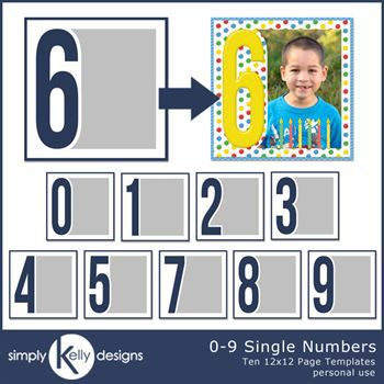 0 - 9 Single Numbers 12x12 Templates