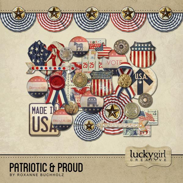 Patriotic And Proud Digital Art - Digital Scrapbooking Kits