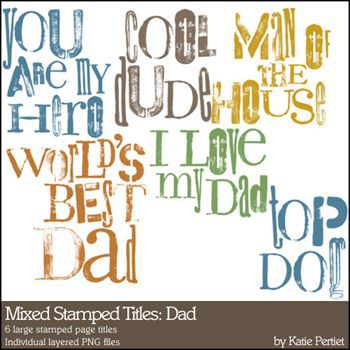 Mixed Stamped Titles Brushes And Stamps Dad Digital Art - Digital Scrapbooking Kits