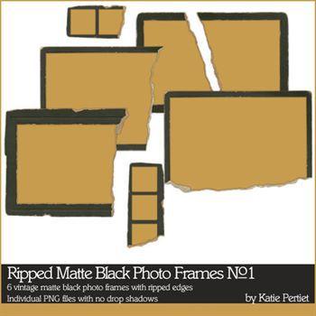 Ripped Matte Black Photo Frames No. 01