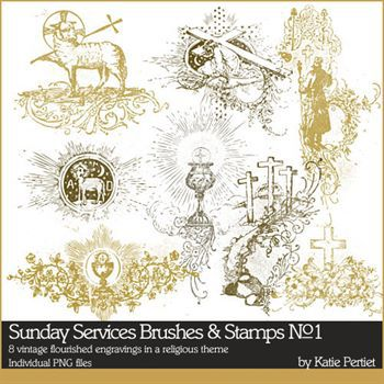 Sunday Services Brushes And Stamps No. 01 Digital Art - Digital Scrapbooking Kits