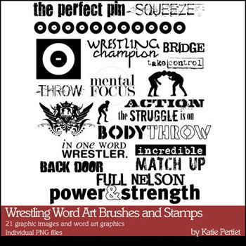 Wrestling Word Art Brushes And Stamps