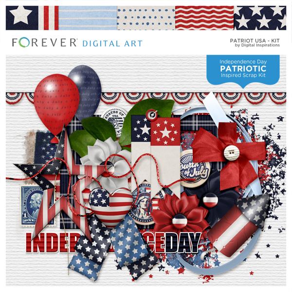 Patriot USA Kit Digital Art - Digital Scrapbooking Kits