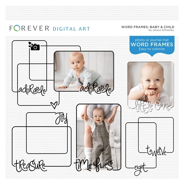 Word Frames Baby & Child Digital Art - Digital Scrapbooking Kits