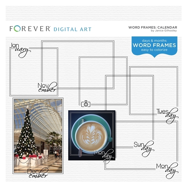 Word Frames Calendar Digital Art - Digital Scrapbooking Kits
