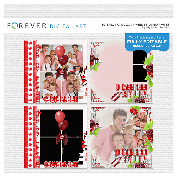 Patriot Canada Pre-designed Pages Digital Art - Digital Scrapbooking Kits
