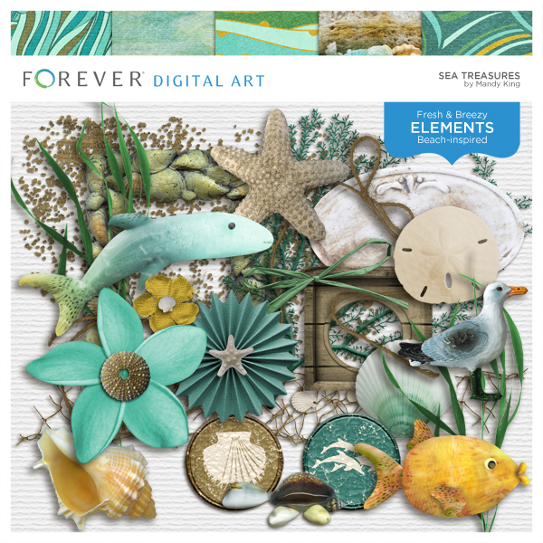 Sea Treasures Digital Art - Digital Scrapbooking Kits