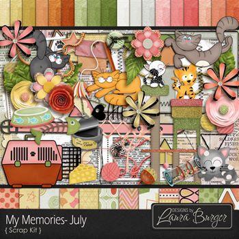 My Memories July Scrap Kit Digital Art - Digital Scrapbooking Kits