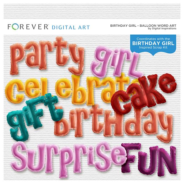 Birthday Girl Balloon Word Art