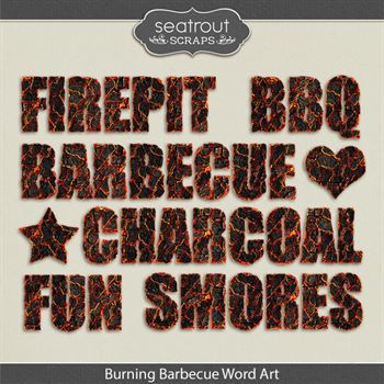 Burning Barbecue Word Art
