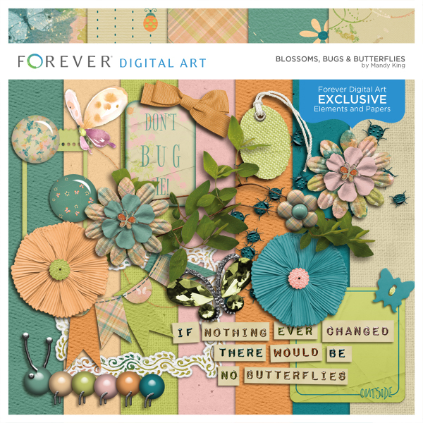 Blossoms, Bugs & Butterflies Digital Art - Digital Scrapbooking Kits