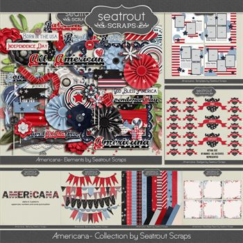 Americana Bundle Digital Art - Digital Scrapbooking Kits