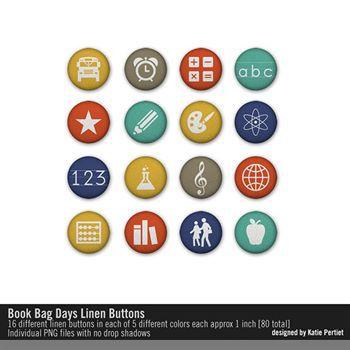Book Bag Days Linen Buttons