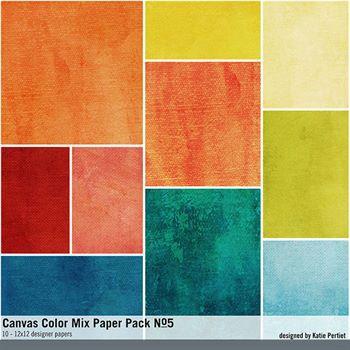 Canvas Color Mix Paper Pack No. 05 Digital Art - Digital Scrapbooking Kits