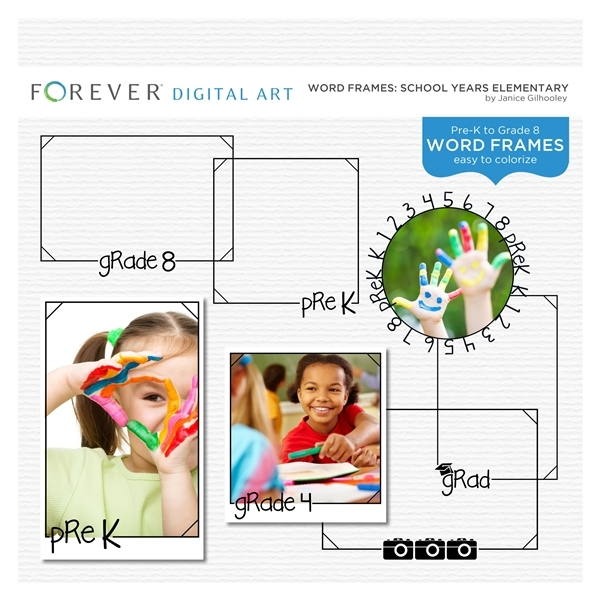 Word Frames School Years Elementary Digital Art - Digital Scrapbooking Kits