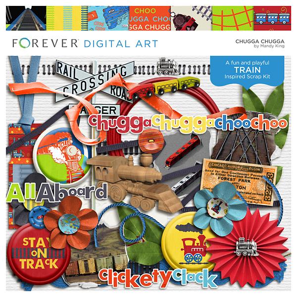 Chugga Chugga Digital Art - Digital Scrapbooking Kits