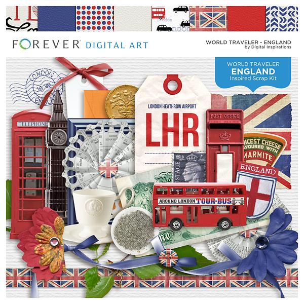 World Traveler - England Digital Art - Digital Scrapbooking Kits