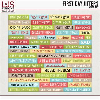 First Day Jitters - Word Art
