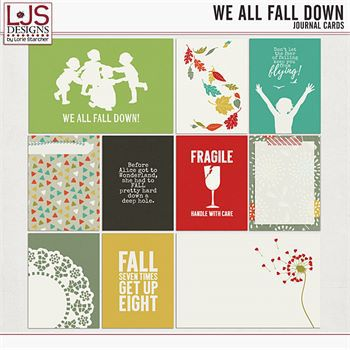 We All Fall Down - Journal Cards Digital Art - Digital Scrapbooking Kits