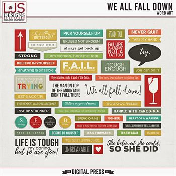 We All Fall Down - Word Art Digital Art - Digital Scrapbooking Kits
