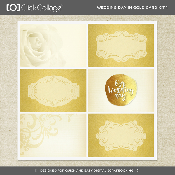 Wedding Day In Gold Card Kit 1 Digital Art - Digital Scrapbooking Kits