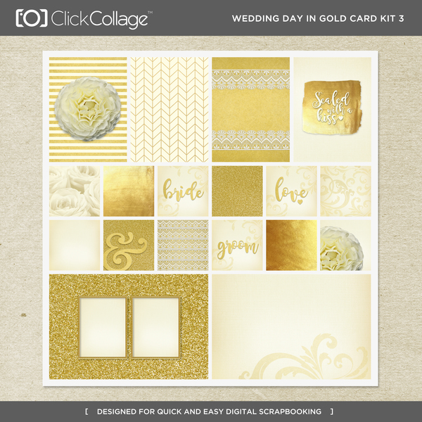 Wedding Day In Gold Card Kit 3 Digital Art - Digital Scrapbooking Kits