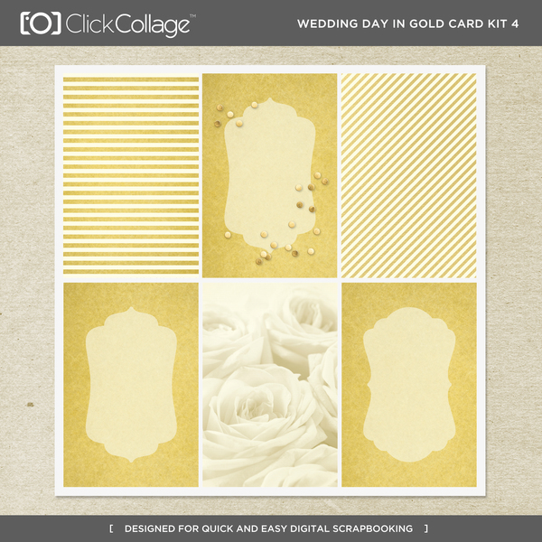 Wedding Day In Gold Card Kit 4 Digital Art - Digital Scrapbooking Kits