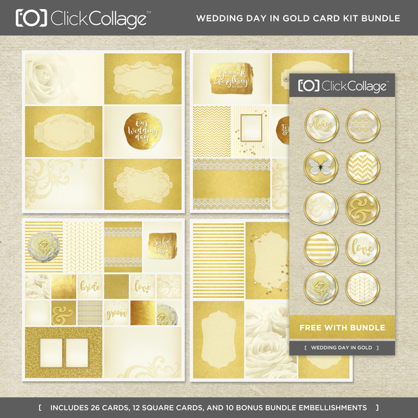 Wedding Day In Gold Card Kit Bundle Digital Art - Digital Scrapbooking Kits