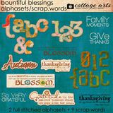 Bountiful Blessings Word Art With Alphasets