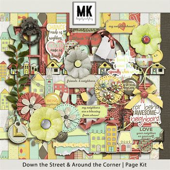 Down The Street & Around The Corner Digital Art - Digital Scrapbooking Kits