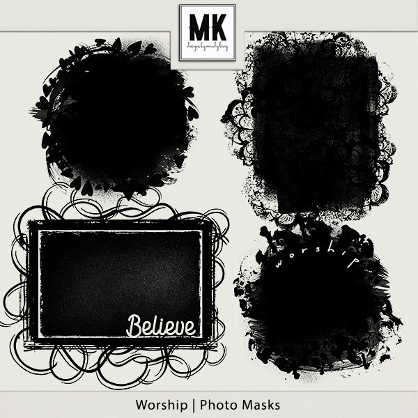 Worship - Photo Masks Digital Art - Digital Scrapbooking Kits